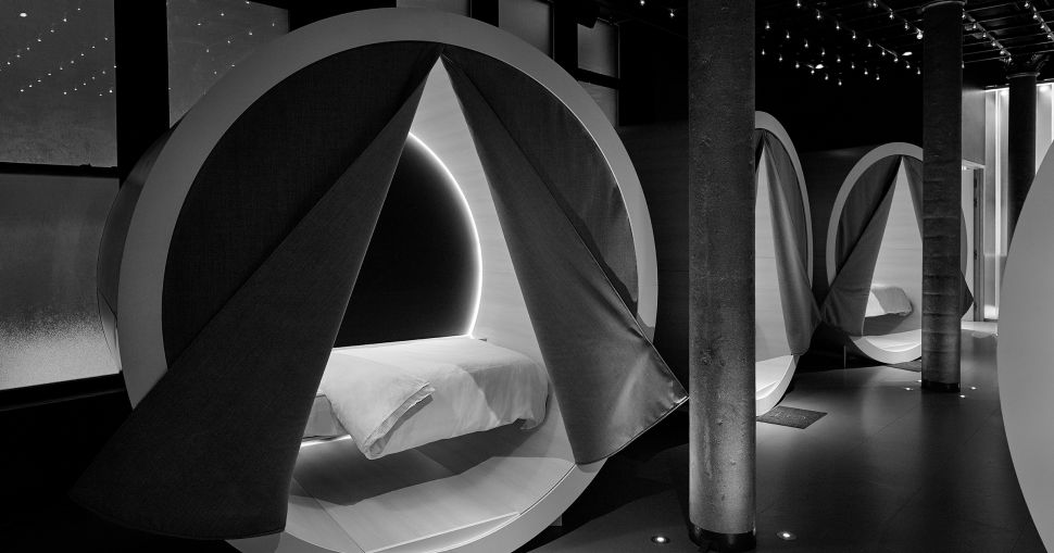 Nap pods in Casper's Dreamery nap studio in New York City.