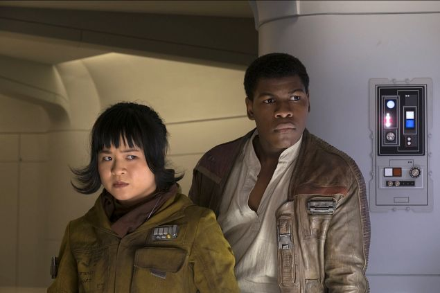 Kelly Marie Tran as Rose and John Boyega as Finn in Star Wars: The Last Jedi.