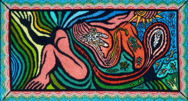 """Judy Chicago, <i>Creation of the World</i> 1984. Silkscreen and embroidery over drawing on fabric, 23 x 40 in. Embroidery by Merrily Rush Whitaker. Loan courtesy of Albuquerque Museum; Gift of """"Through The Flower"""""""