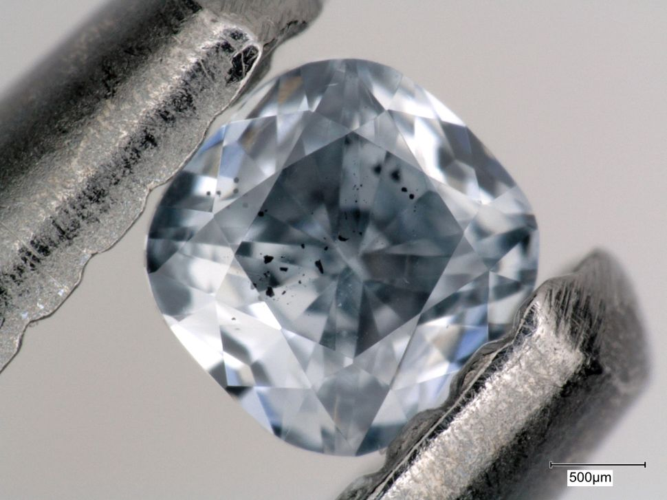 Blue boron-bearing diamond, containing mineral inclusions that were examined as part of this study.
