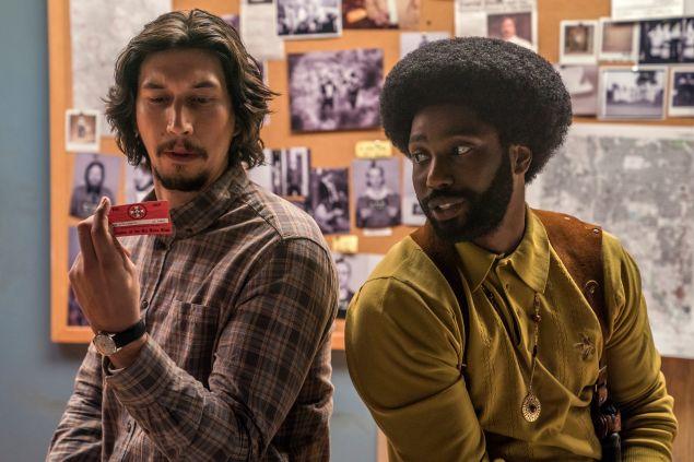 Adam Driver as Flip Zimmerman and John David Washington as Ron Stallworth in Spike Lee's BlacKkKLansman.