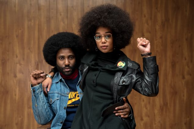David Washington and Laura Harrier in Spike Lee's BlacKkKlansman.