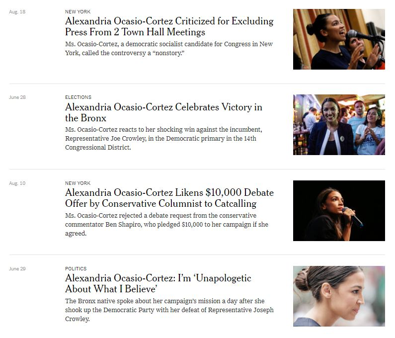 A sampling of New York Times stories about Alexandria Ocasio-Cortez.