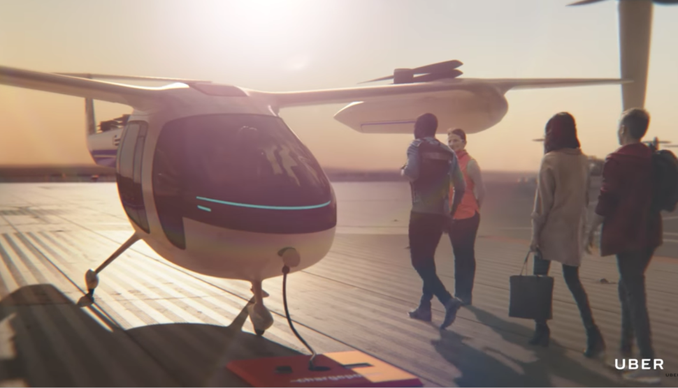 A simulated prototype of Uber's flying taxi service, Uber Elevate.
