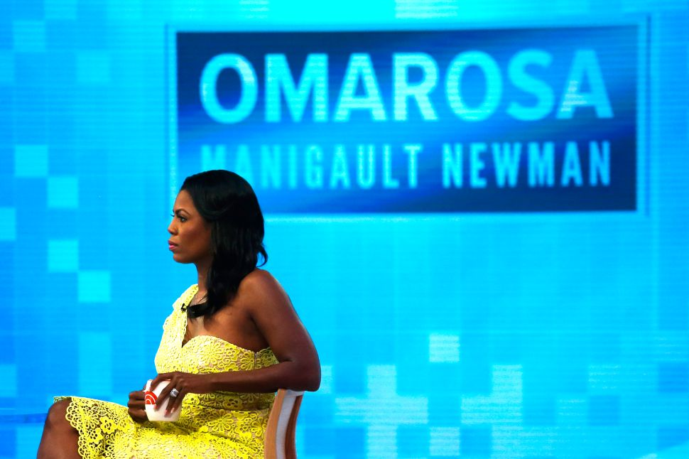 Omarosa Manigualt-Newman waits to promote her new book 'Unhinged' on the 'Today Show.'