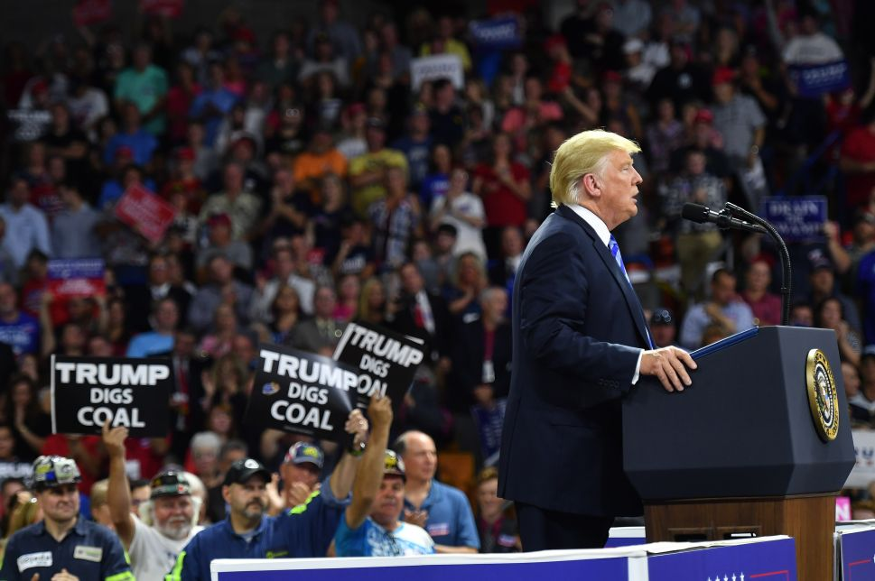 President Donald Trump speaks at a political rally at Charleston Civic Center in Charleston, West Virginia.