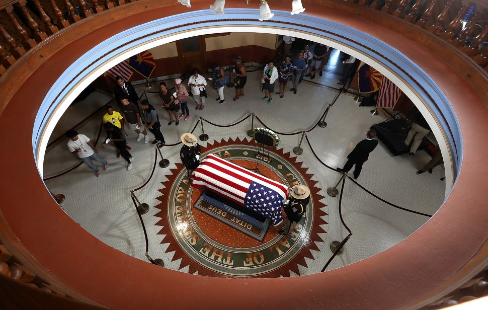 John McCain's body lies in state at the Arizona State Capital. He's one of three notable people who died recently.