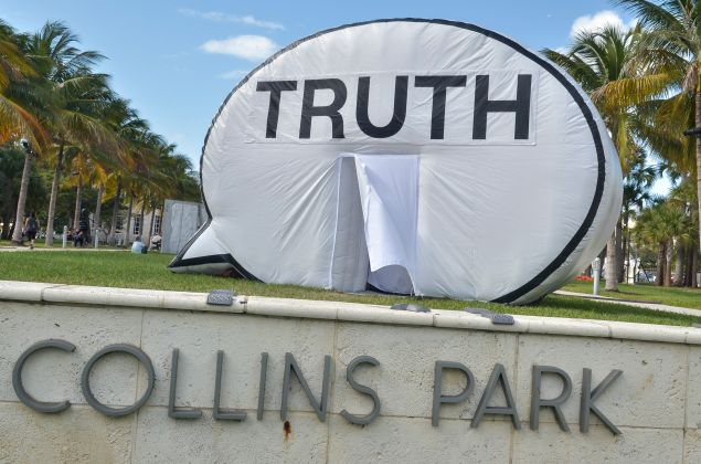 In Search of Truth by Hank Willis Thomas, Ryan Alexiev and Kim Ricks on display during Art Basel Miami Beach 2014.