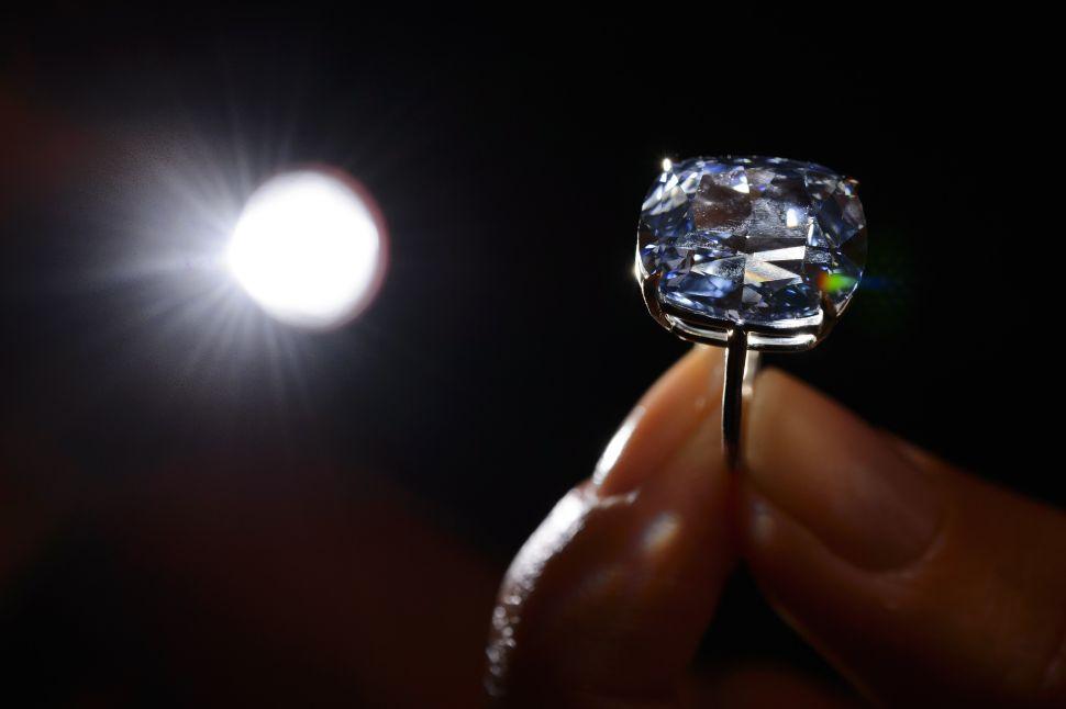 A 12.03-carat blue diamond.