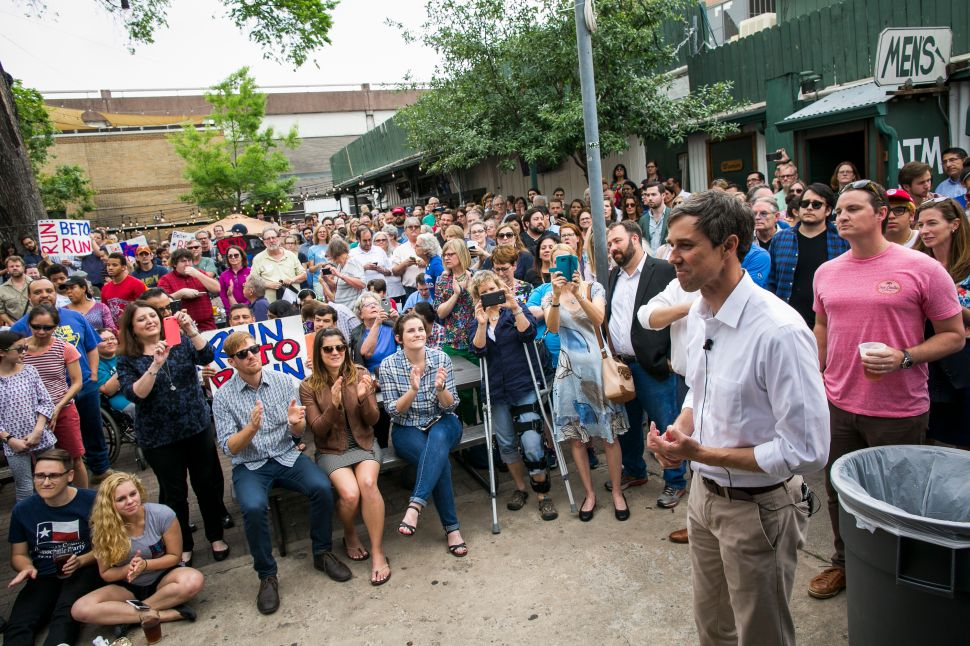 Rep. Beto O'Rourke (D-TX) is introduced before speaking to a group of supporters