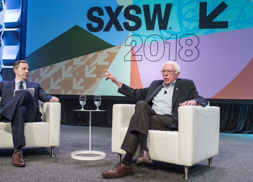 CNN Anchor Jake Tapper interviews Vermont Senator Bernie Sanders during SxSW Interactive.