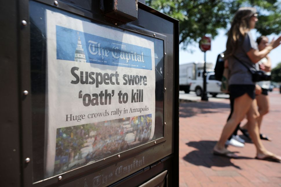 """The Capital Gazette memorialized victims of the shooting on its front page, and now it's doing it on a T-shirt. This media advocacy works better than the Newseum's """"fake news"""" defense."""