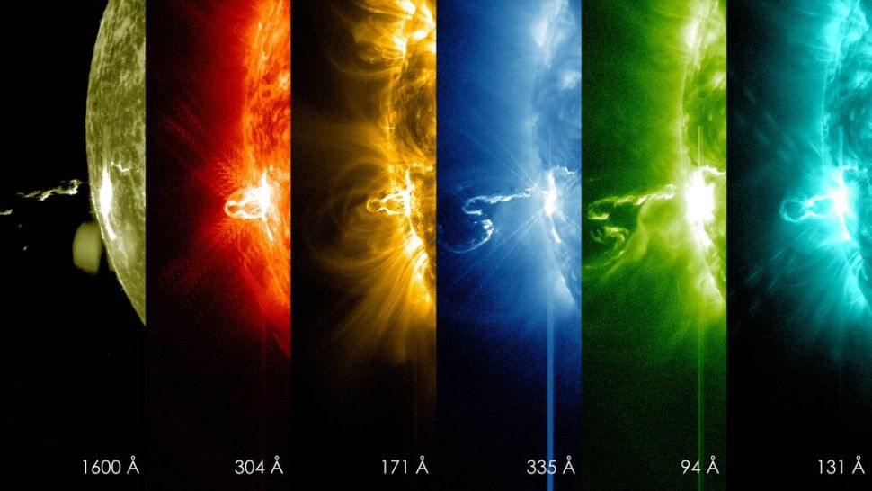 The first moments of a solar flare in different wavelengths of light.