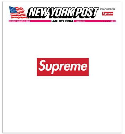Supreme branded cover of the New York Post.