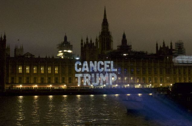 The Illuminator projects the words 'Cancel Trump' on the U.K.'s Parliament House on July 10, 2018.