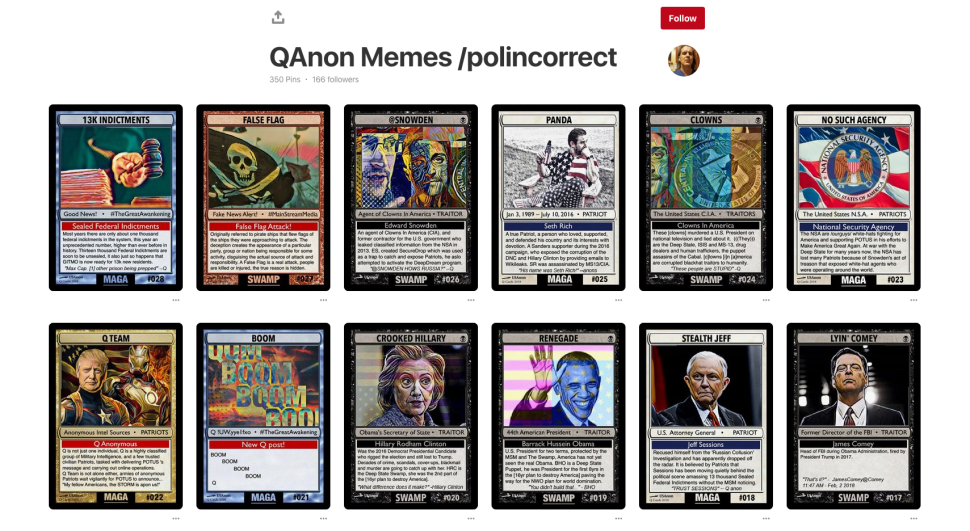A QAnon Pinterest board created by user Freerollinsider.com.
