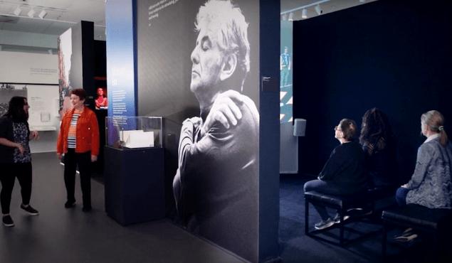 """Installation view of """"Leonard Bernstein: The Power of Music."""""""