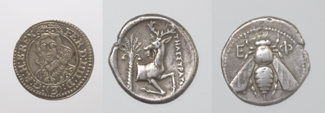 Two Ephesus coins (387-295 BCE) and Ferdinand IV as Archduke (1653)