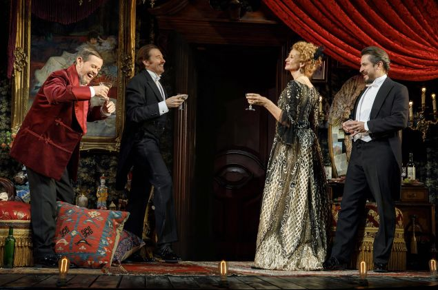 Dylan Baker, Jason Butler Harner, Janet McTeer and Matthew Saldivar in Bernhardt/Hamlet.