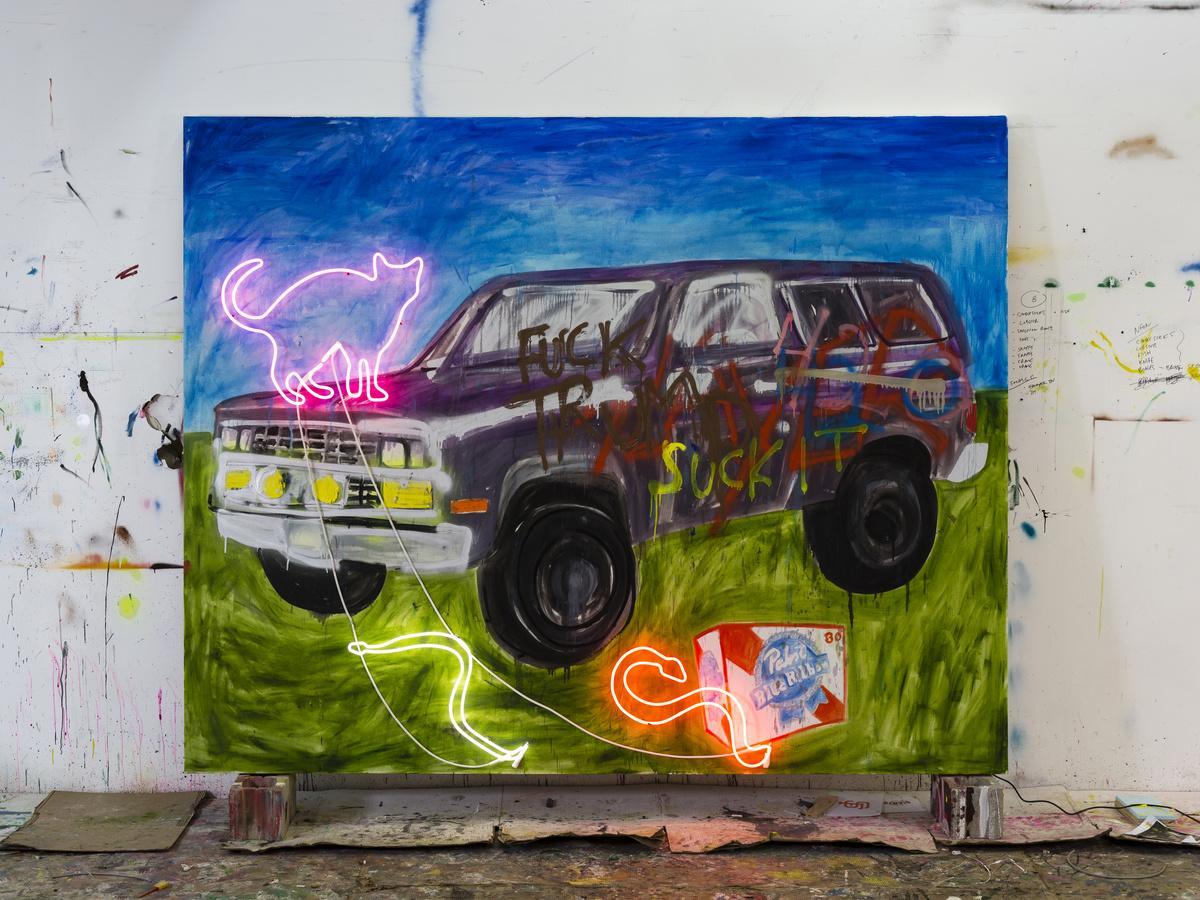 Thrush Holmes, Suck it, 2018. Oil, spray paint, neon on canvas.
