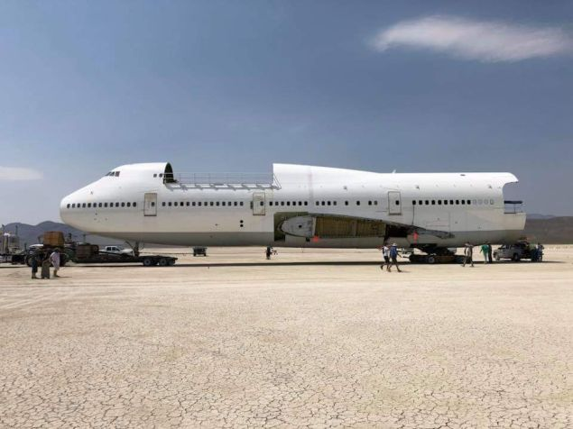The 747, parked in Black Rock Desert.