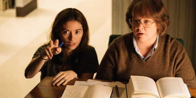 Marielle Heller working with Melissa McCarthy on set of Can You Ever Forgive Me?
