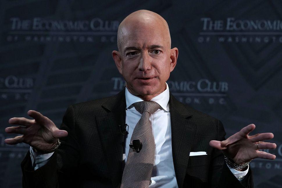 Jeff Bezos Speaks At Economic Club Of Washington With Club President David Rubenstein