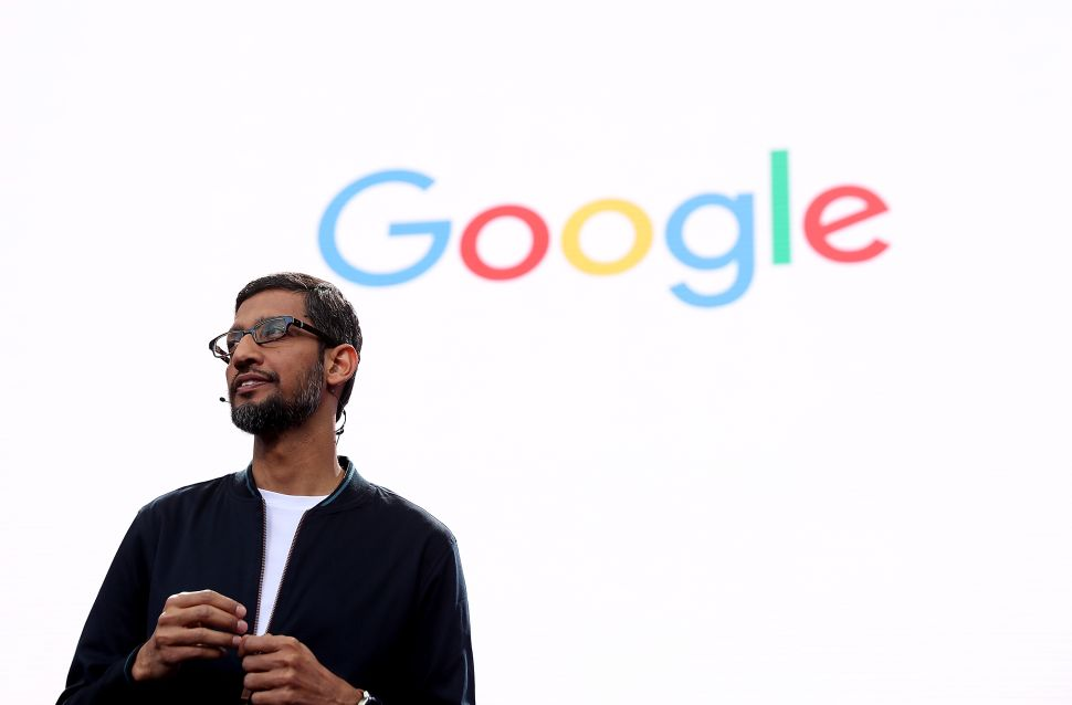 Google CEO Sundar Pichai speaks during Google I/O 2016.