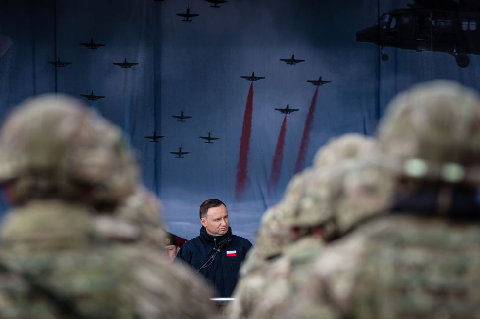 Polish President Andrzej Duda speaks during an official welcoming ceremony of NATO troops in Orzysz, Poland, on April 13, 2017.