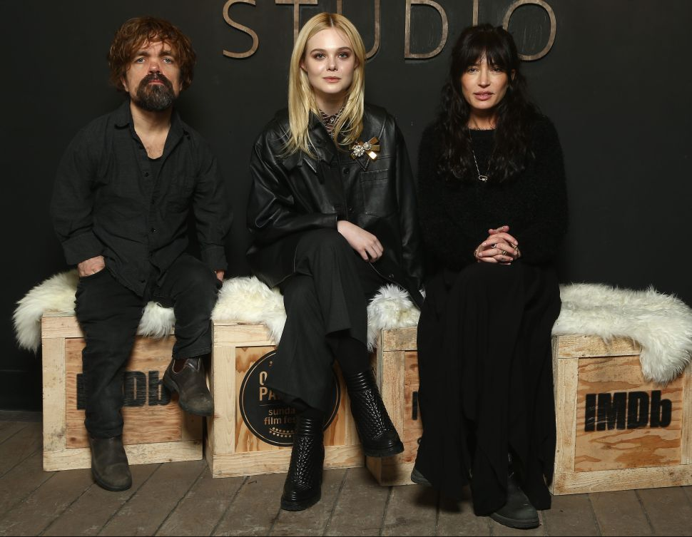 PARK CITY, UT - JANUARY 21: Director Reed Morano, actors Peter Dinklage and Elle Fanning of 'I Think We're Alone Now' attend The IMDb Studio and The IMDb Show on Location at The Sundance Film Festival on January 21, 2018 in Park City, Utah. (Photo by Tommaso Boddi/Getty Images for IMDb)