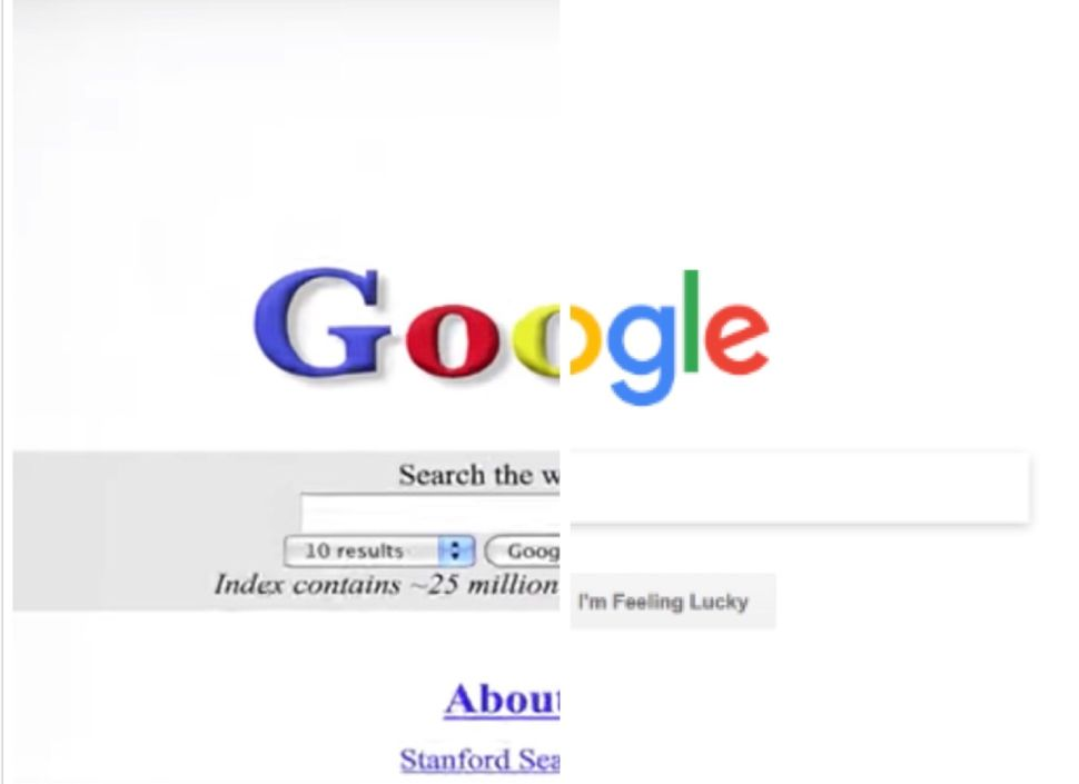 Google homepage in 1998 vs. 2018.