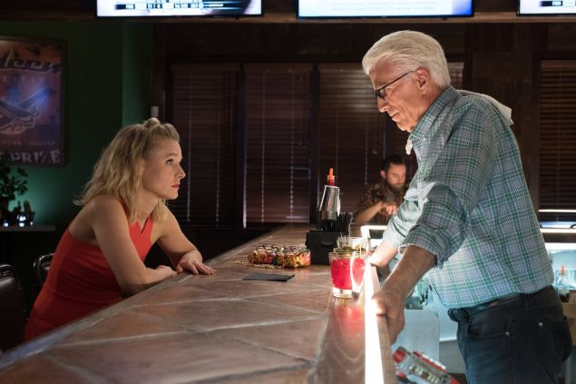 Kristen Bell as Eleanor and Ted Danson as Michael in The Good Place.