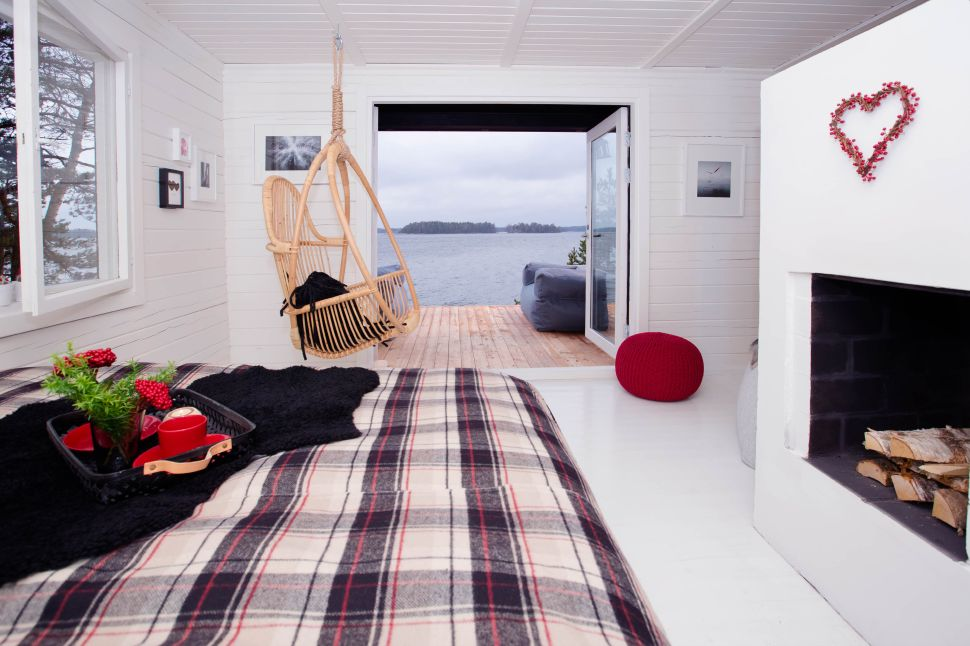 A guest cabin on SuperShe Island, Kristina Roth's women-only retreat in the middle of the Baltic Sea.