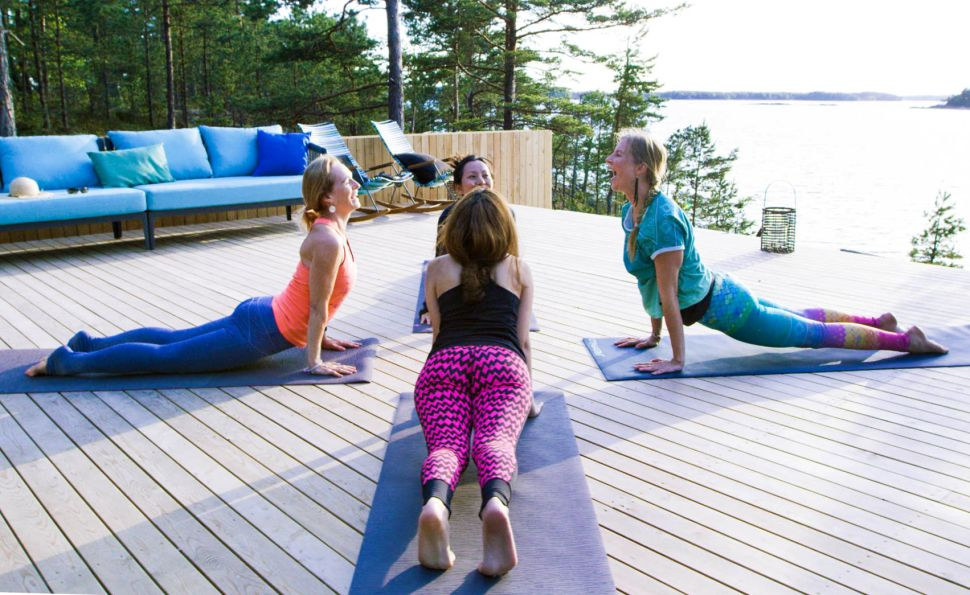 Yoga happens daily on SuperShe Island.