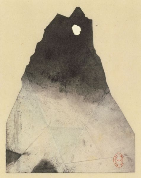 Victor Hugo, Silhouette de l'Ermitage (Silhouette of l'Ermitage), ca. 1855. Stencil cut from paper with charcoal.