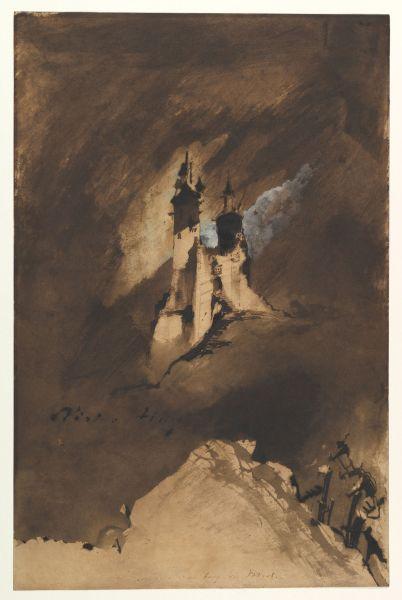 Victor Hugo, Souvenir d'un burg des Vosges (Souvenir of a castle in the Vosges), 1857. Brown ink and wash and white gouache on paper.