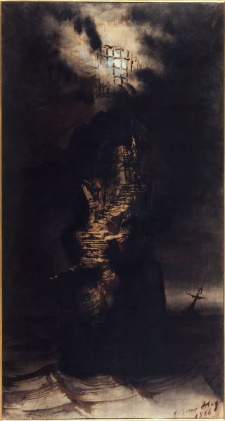 Victor Hugo, , Le phare des Casquets (The Casquets lighthouse), 1866. Brown ink and wash, black crayon, black chalk, and white gouache on paper.