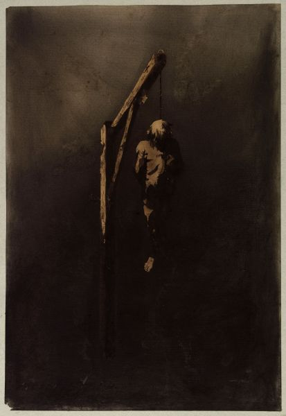 Victor Hugo, Ecce Lex (Le pendu) (Ecce Lex [hanged man]), 1854. Brown ink, brown and black wash, graphite, charcoal, and white gouache on paper.