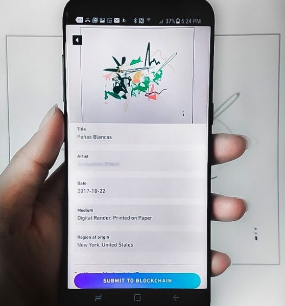 Registering an artwork on the blockchain.