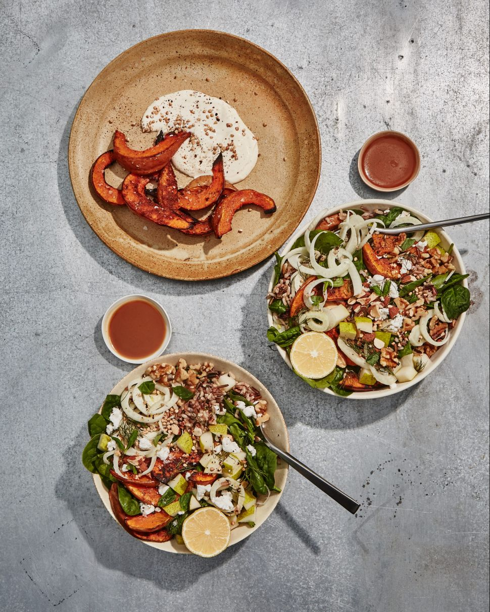 Debuting Nov. 1, Sweetgreen's 'Koginut Squash by Dan Barber' bowl also comes with organic spinach, wild rice, pears, lemony fennel, fresh basil and goat cheese finished with toasted buckwheat, raw walnuts, toasted almonds, a squeeze of lemon and balsamic vinaigrette.