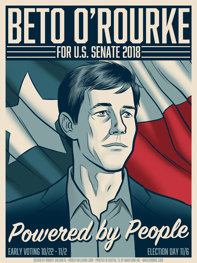 Only in Austin could a debate emerge over which senatorial candidate is more punk than the other. Beto O'Rourke campaign poster