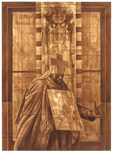 Charles White, <i>Black Pope (Sandwich Board Man)</i>, 1973.