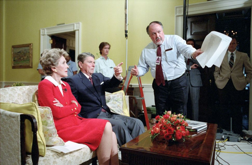Roger Ailes talking with President Reagan and Nancy Reagan before a national address on drug abuse, 1986.