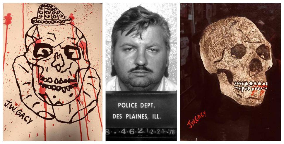 John Wayne Gacy, center, murdered tktrktk, two clown paintings...
