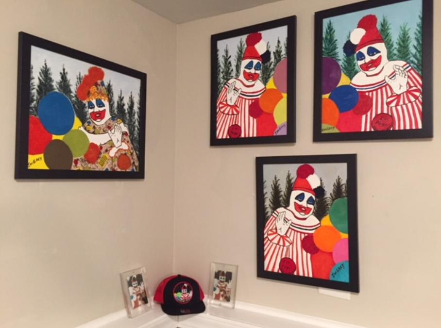 Collector William Harder's John Wayne Gacy clown wall.