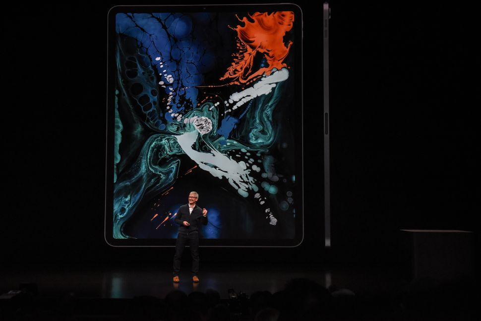 Tim Cook, CEO of Apple unveils a new iPad Pro with the new Apple Pencil during a launch event at the Brooklyn Academy of Music on October 30, 2018 in New York City.