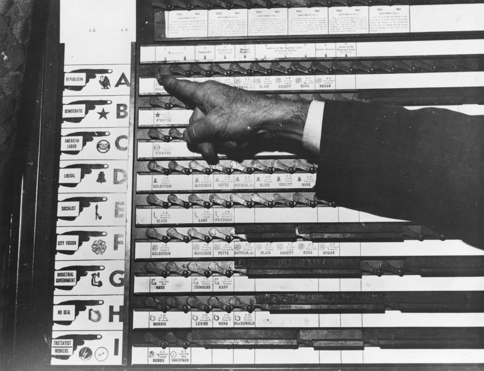 A mechanical voting machine which took the place of ballot papers for elections in New York in the 1950s.