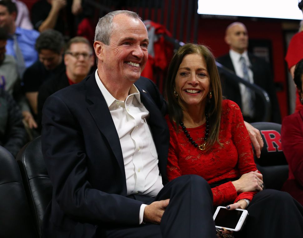 Gov. Phil Murphy with his wife Tammy during a game between the Nebraska Cornhuskers and Rutgers Scarlet Knights