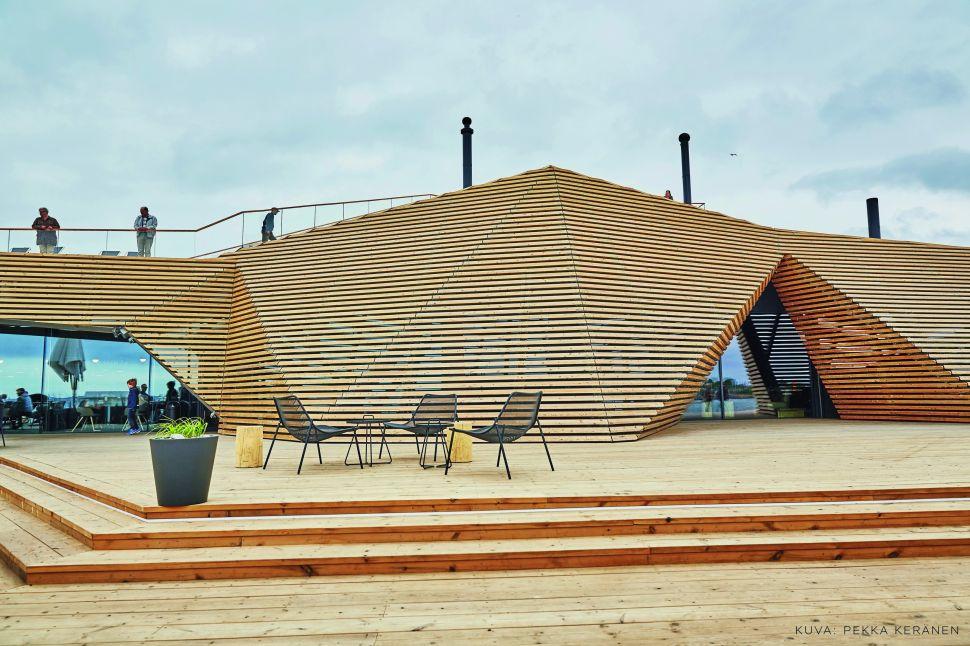 The Löyly bar terrace in Helsinki, Finland.