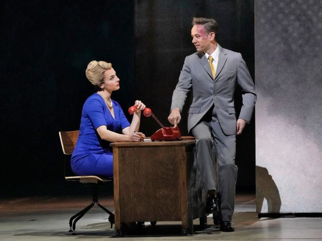 Randy executive Terry Rutland (Iestyn Davies, right) gets inappropriate in the workplace in 'Marnie'.